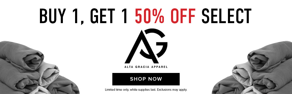 Picture of rolled shirts. Buy 1, get 1 50% off select Alta Gracia apparel. Limited time only. Exclusions may apply. While supplies last. Click to shop now.