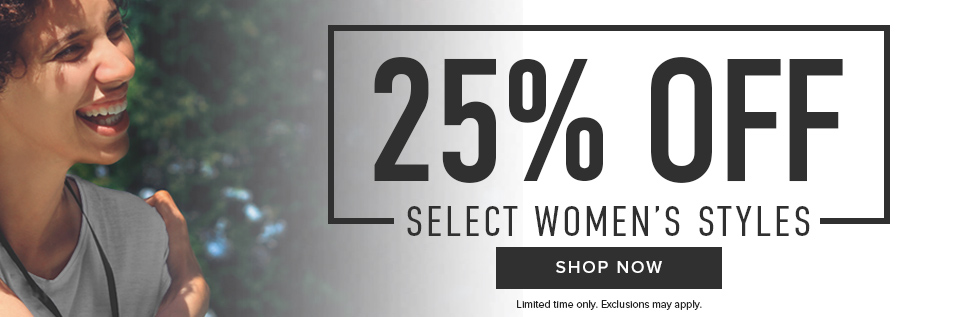 Picture of woman. 25% off select Women's styles. Exclusions may apply. Click to shop now.